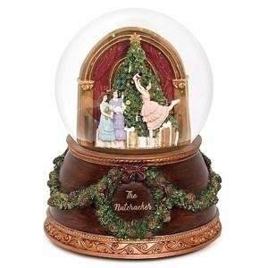 Nutcracker Ballet globe with vintage style base