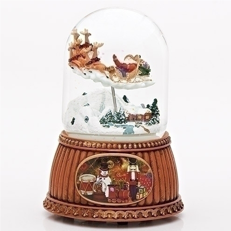 Santa in sleigh rotating musical snow globe
