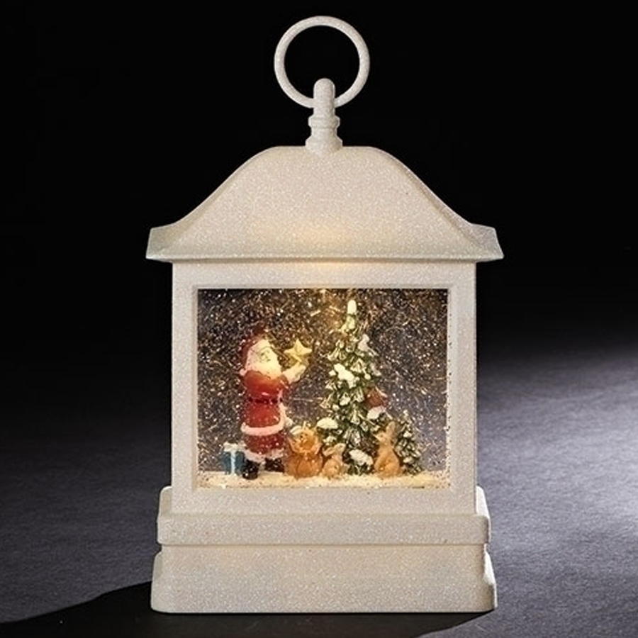 Large lighted white lantern with Santa and Christmas tree inside automatic swirl glitterinside
