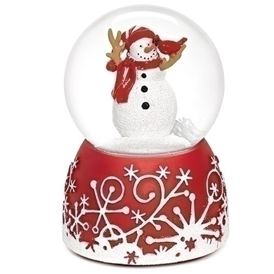 Musical globe in red with Snowman and Cardinal