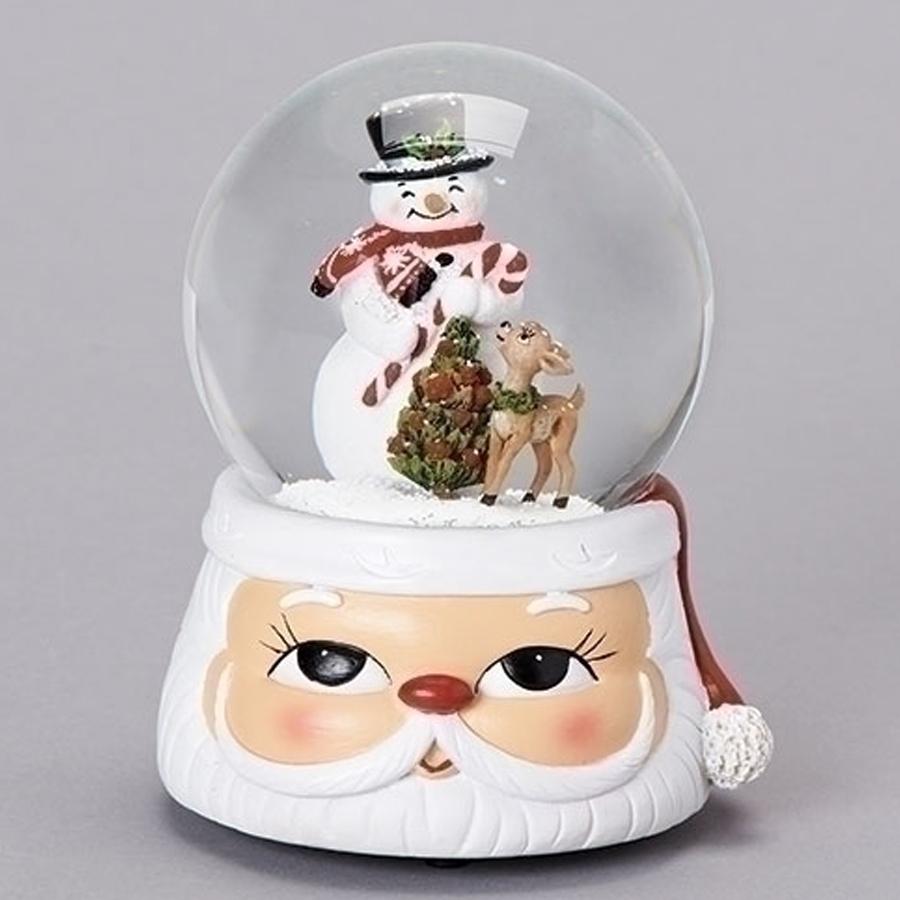 Musical Snowman and deer water globe. The base is a cute Santa head