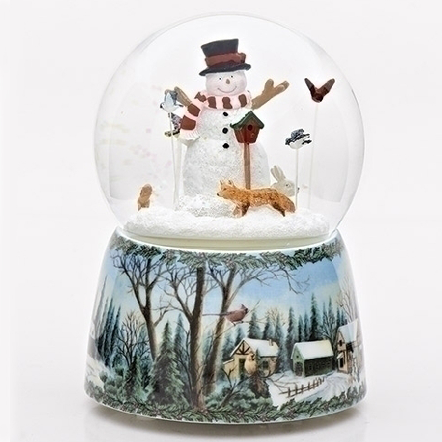 Musical Snowman Water Globe with animals and birds. Winter scene base