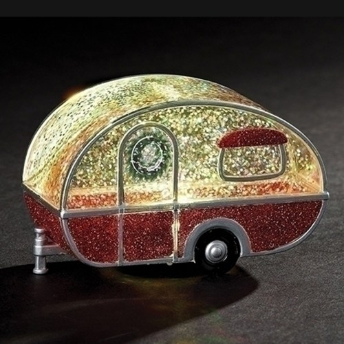 Tear Drop trailer globe with lights inside and automatic swirl glitter