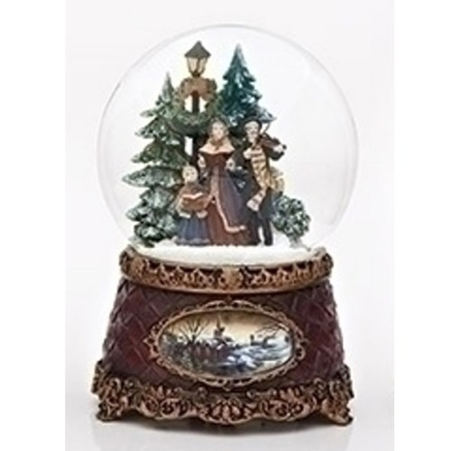 Carolers musical water globe with vintage base