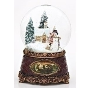 Snowman and children musical snow globe with vintage base