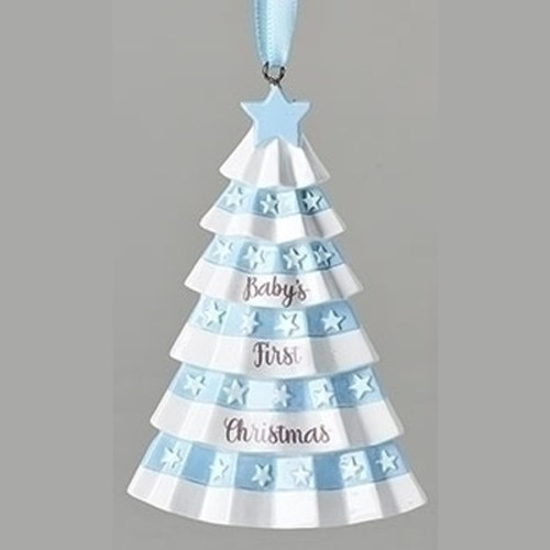 Baby's First Christmas Ornament -Blue Christmas Tree