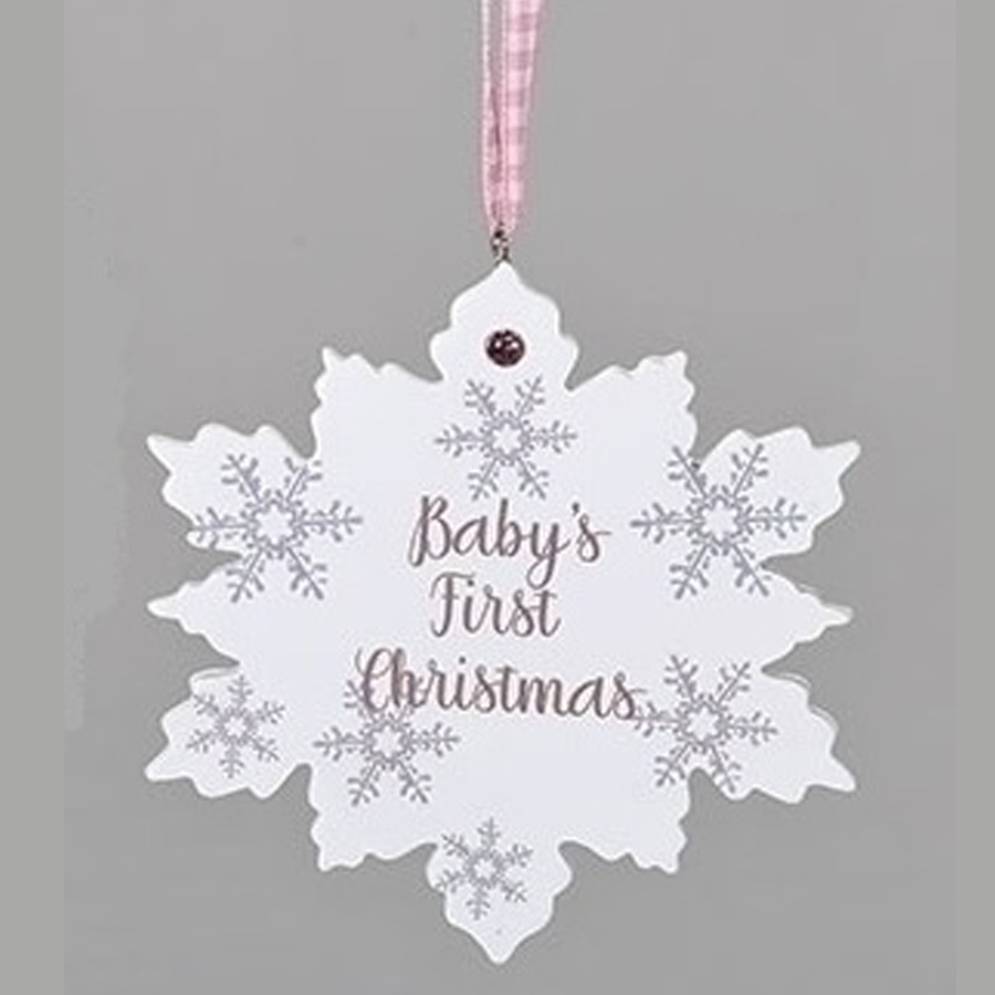 Baby's First Christmas Ornament - Pink Snowflake