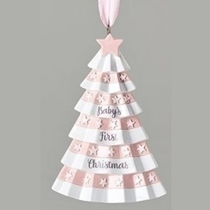 Baby's First Christmas Ornament-Pink Christmas Tree