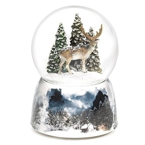 Stunning 6 Point Buck inside a snowy water globe. Porcelain musical base