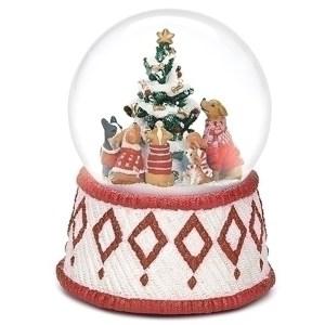 Dogs around a Christmas tree musical water globe