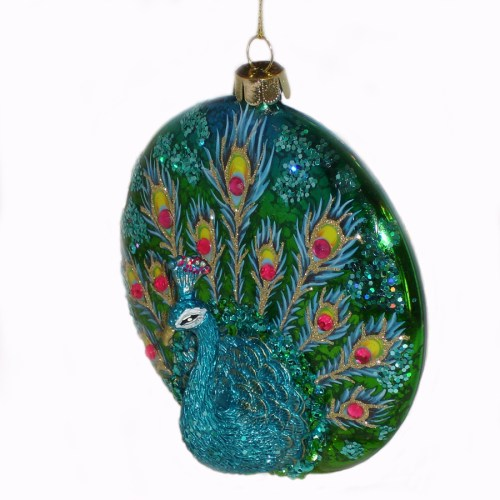 Blue-Peacock-Ornament-angle-view