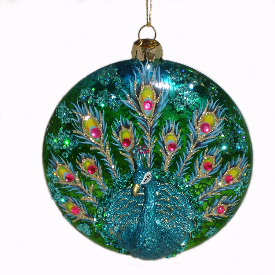 Blue-Peacock-Ornament-front-view