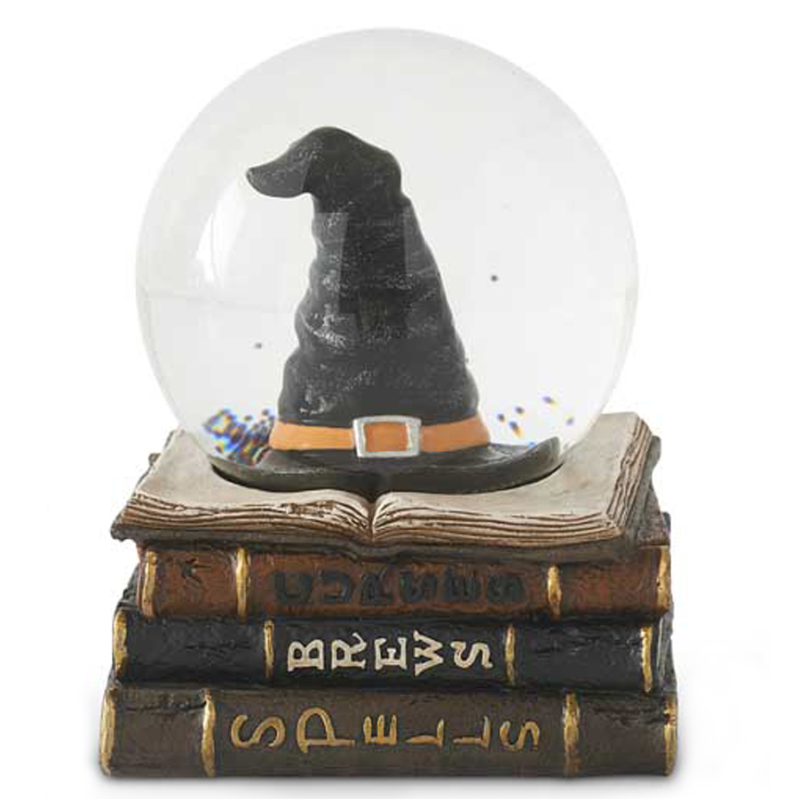 Witch's-Hat-on-Books-Snow-Globe