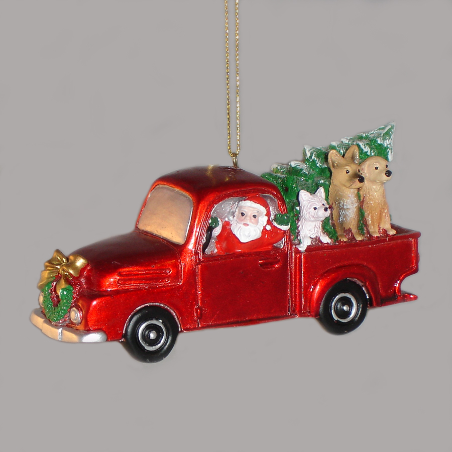 Santa-in-Truck-with-dogs-ornament