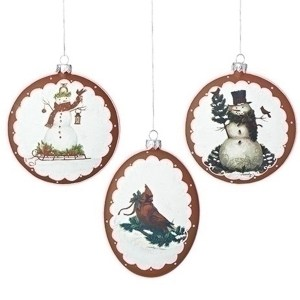 Snowman-Cardinal-Ornament-set