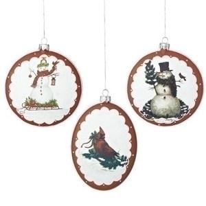 Snowman-Cardinal-Ornament-set