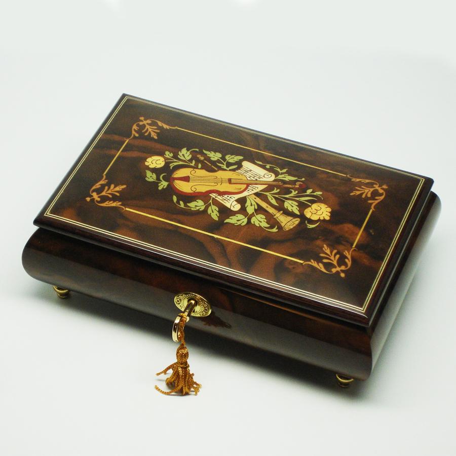 Italian-Inlay-Musical-Jewelry-Box-Burl-Walnut