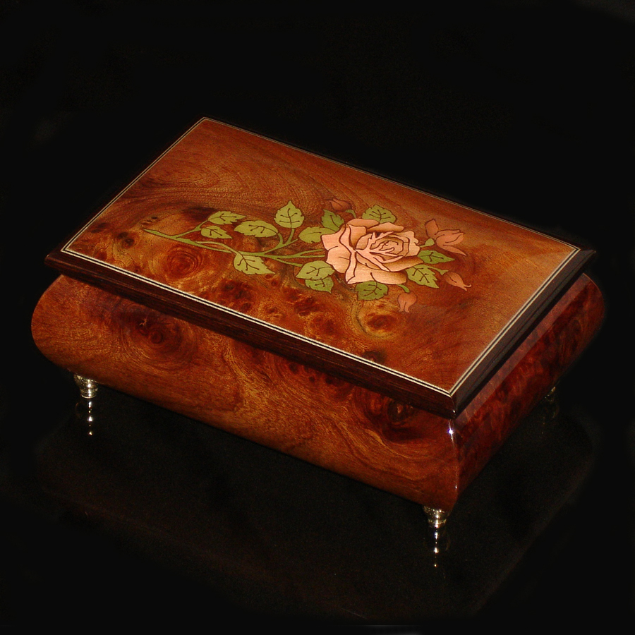 Italian-Inlay-Musical-Jewelry-Box-Pink-Rose-Elm