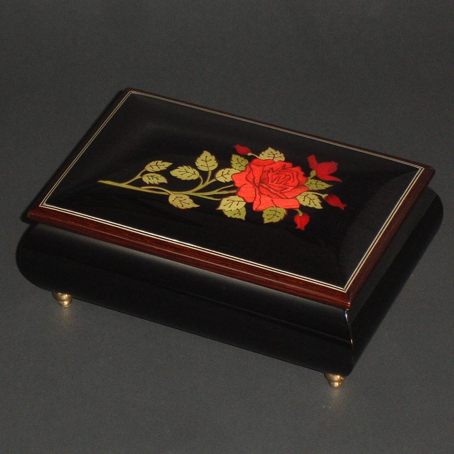 Italian-Inlay-Musical-Jewelry-Box-Red-Rose-Black-2