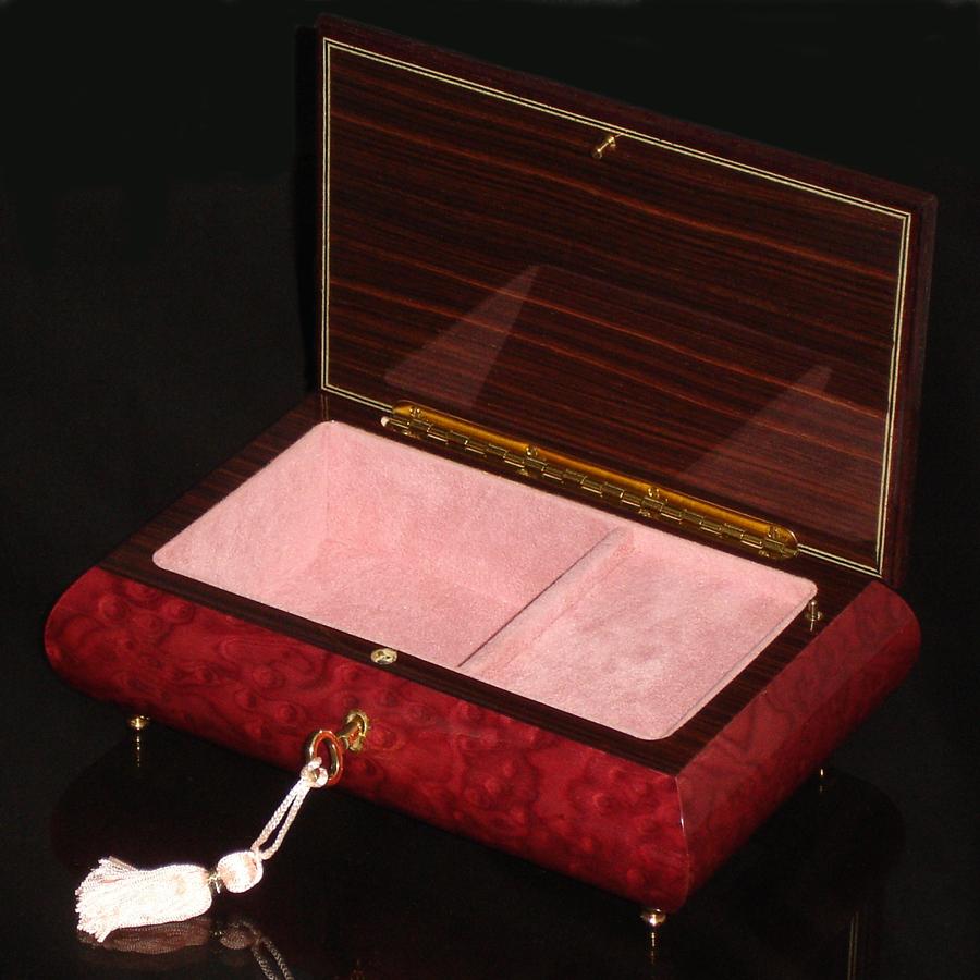 Italian-Inlay-Musical-Jewelry Box-Magenta-open