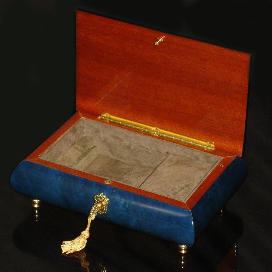 Italian-Inlay-Musical-Jewelry-Box-Blue-Open