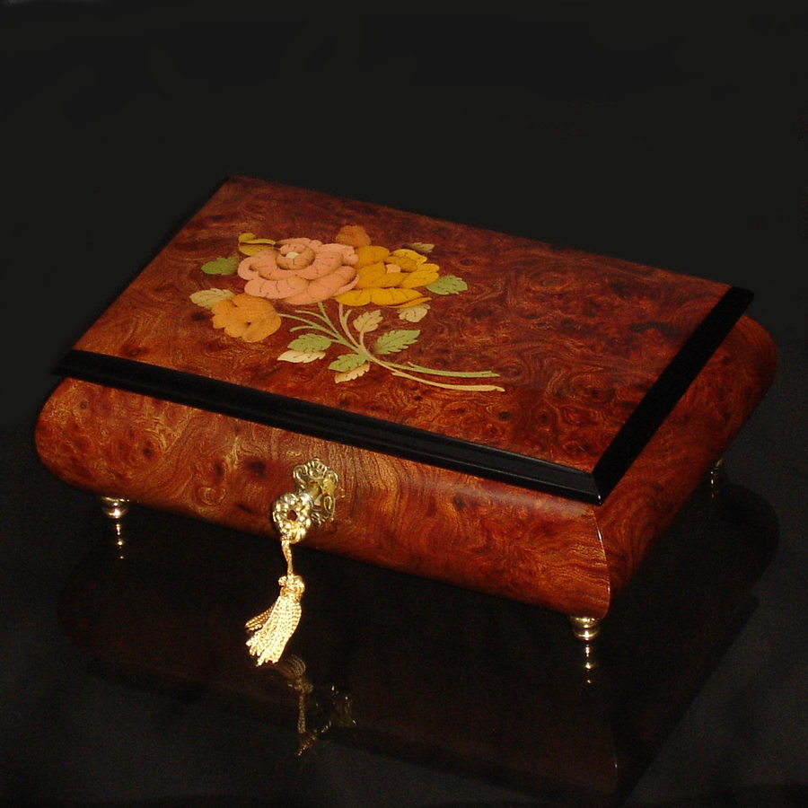 Italian-Inlay-Musical-Jewelry-Box-Burl-Elm