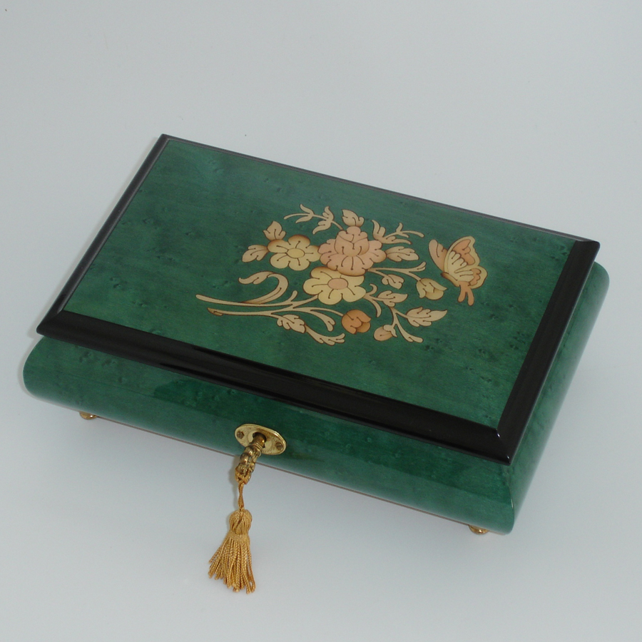Italian-Inlay-Musical-Jewelry-Box-Green