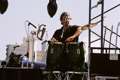 Percussionist Shaen Husner, right after putting a saucy cymbal in its place