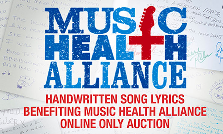 Music Health Alliance Second Annual Handwritten Lyrics Auction
