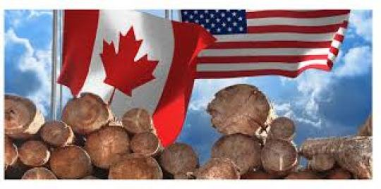 Canadian US flags lumber
