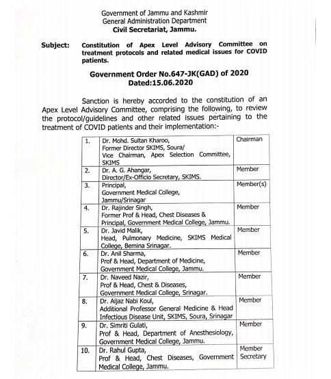LG admin's idea of all-doctor committee to fight COVID gets thumbs up in J&K