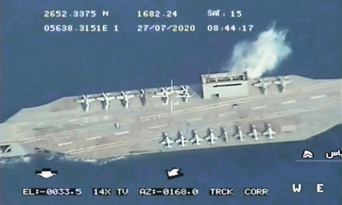 Iran batters dummy US aircraft carrier in Gulf exercises