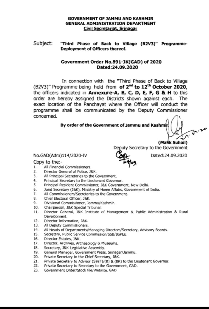 Back to Village Phase III: Govt orders deployment of officers