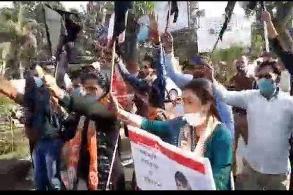 BJP workers protest arrival of Mehbooba Mufti in Jammu