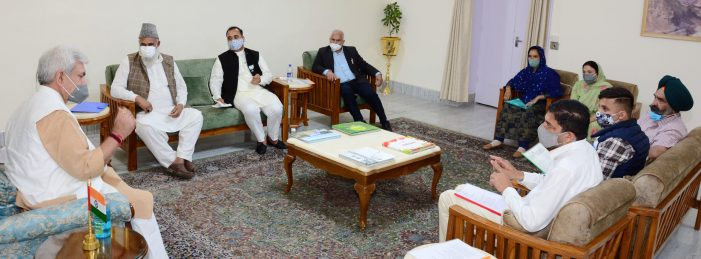 Delegations of DDC Rajouri, Islamic Welfare Organisation and Director Sainik Welfare call on Lt Governor