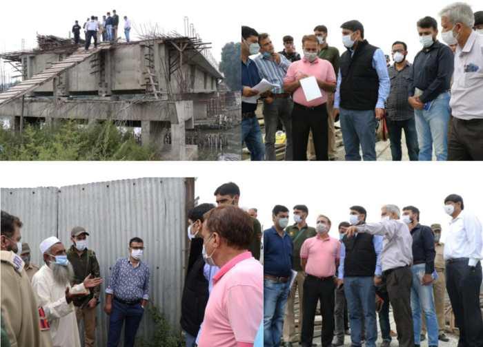 DC Srinagar inspects under construction works of Noor Jehan Bridge Qammarwari, 60 MLD pumping station Ali Jan Road