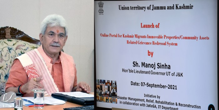 Lt Governor launches online portal for time bound redressal of grievances related to Kashmir Migrants' Immovable properties