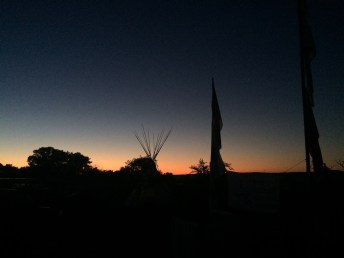 Sacred Stone Spirit Camps at sunset (Photo: Nadya Tannous)