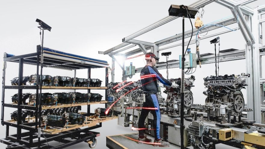 Ford's body tracking technology on a factory worker.