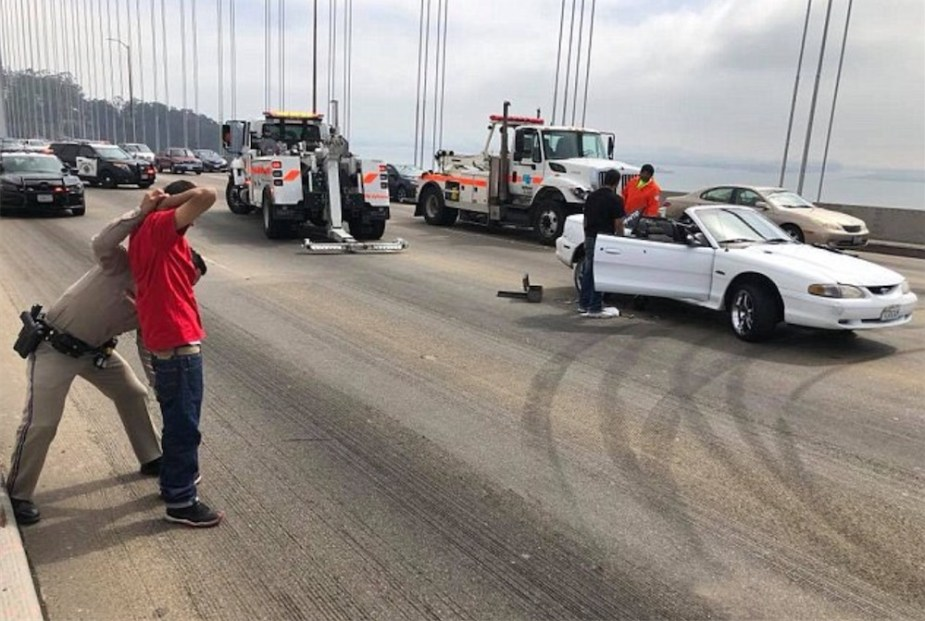 Mustangs driver arrested for donuts on San Francisco Bay Bridge