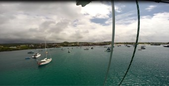 Puerto Baqurize from the top of the mast.