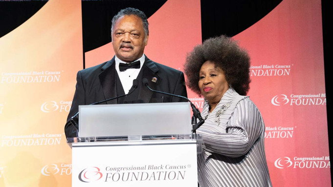 WASHINGTON, DC - SEPTEMBER 15:  (L-R) Jesse Jackson and his wife Jacqueline Brown attend the Phoenix Dinner for the 48th Annual Congressional Black Caucus Foundation on September 15, 2018 in Washington, DC.  (Photo by Earl Gibson III/Getty Images)