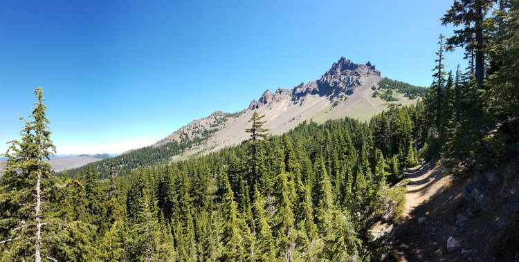 The Pacific Crest Trail winding through mountains - this trail passes directly through Rogue River-Siskiyou National Forest