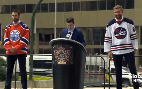 02cb942f766 On a fancy stage at Portage and Main, the Winnipeg Jets revealed their  jerseys for the 2016 Heritage Classic. The uniforms will throw back to the  WHA ...
