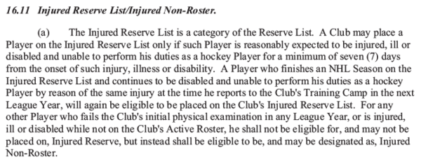 CBA 16.11 (a) Injured Reserve List