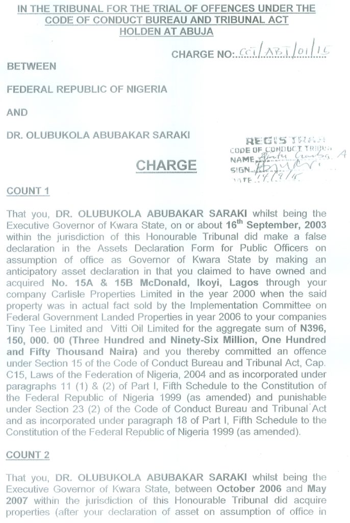 Charge against Saraki