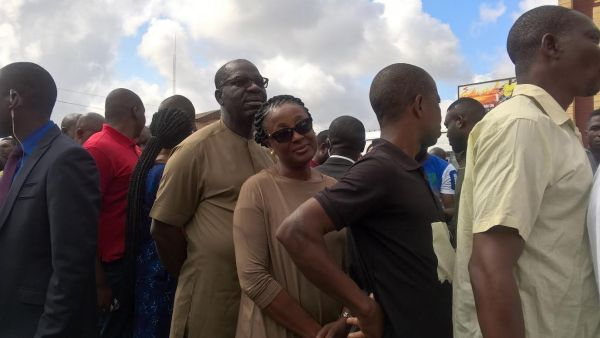 Obaseki and his wife, Besty, waiting for accreditation on Wednesday. Photo: Osagie Otabor