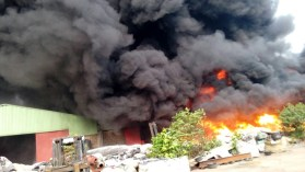 Image result for Fire guts Lagos Plastic factory