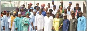 Image result for Akeredolu swears-in 18 Commissioners, 11 Advisers