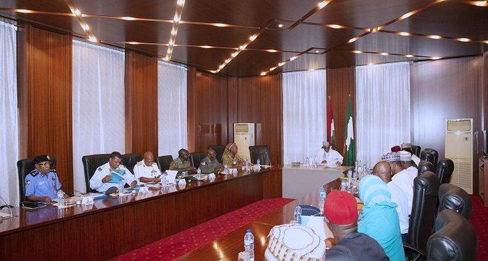 PHOTOS: Buhari, security chiefs meet in Aso Rock